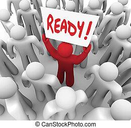 gotowy, wyzwanie, następny, krok, gotowy, znak, człowiek