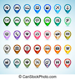 gps, komplet, ikony