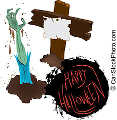 grób, halloween, szczęśliwy