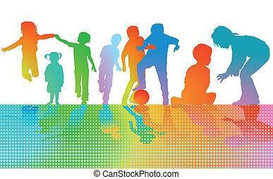 gra, barwny, dzieci