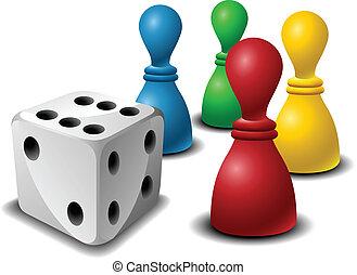 gra, figury, deska, jarzyna pokrajana w kostkę