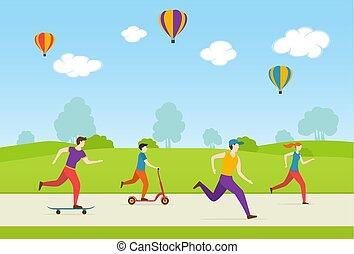 gra, lekkoatletyka, park, ludzie