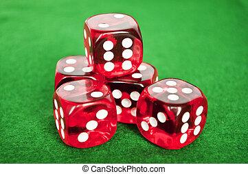 gra w kości, tło, komplet, zielony, hazard
