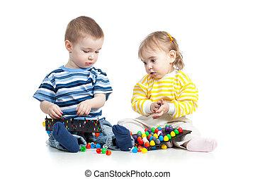 gra, zabawka, dzieci, mozaika