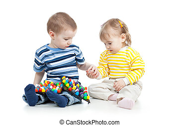 gra, zabawka, mozaika, dzieciaki