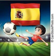 gracz, bandera piłka nożna, hiszpania