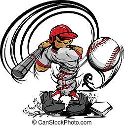 gracz, baseball, rysunek, wahadłowy, ba