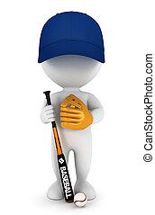 gracz, biały, 3d, baseball, ludzie