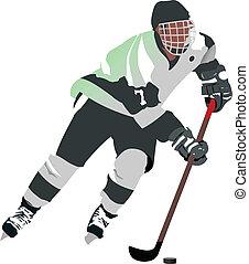 gracz, hokej, lód