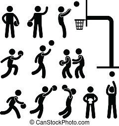 gracz, koszykówka, ludzie, ikona, znak