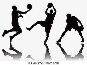 gracz, koszykówka, sylwetka