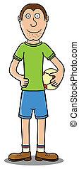 gracz, piłka, -, dzierżawa piłka nożna
