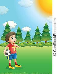 gracz, piłka nożna, młody, pagórek