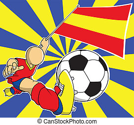 gracz, piłka nożna, wektor, rysunek, hiszpania