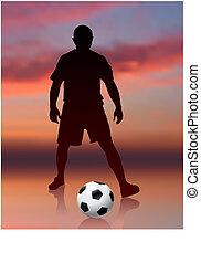 gracz, piłka nożna, wieczorny, tło