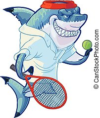 gracz, rekin, tenis, rysunek, podły