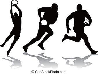 gracz, sylwetka, rugby, trzy