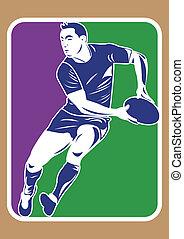 gracz, sylwetka, rugby