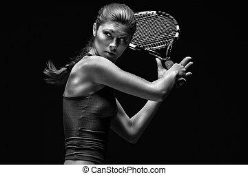 gracz, tenis, samica