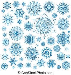 graficzna sztuka, płatki śniegu, śniegowa łuska, wektor, icons., zbiór, boże narodzenie