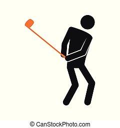 graficzny, golf, figura, prosty, symbol, ilustracja, wektor, sport