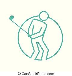 graficzny, golf, szkic, figura, symbol, ilustracja, formułować, wektor, koło, sport