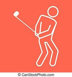 graficzny, golf, szkic, figura, symbol, ilustracja, wektor, sport