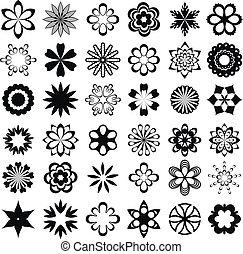 graficzny, komplet, kwiat, elementy
