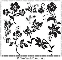 graficzny, kwiaty, projektować