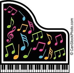 graficzny, notatki, wektor, piano, logo., muzyczny