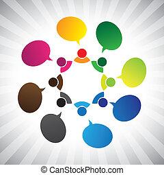 graficzny, sieć, ludzie, chatting-, mówiąc, wektor, towarzyski, albo
