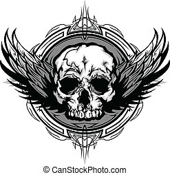 graficzny, szkic, czaszka, plemienny, skrzydełka, wektor, ozdobny, wizerunek