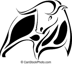 graficzny, wizerunek, ilustracja, bull., wektor, czarnoskóry, silny