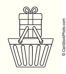 graficzny, zakupy, dar, wektor, kosz, icon.