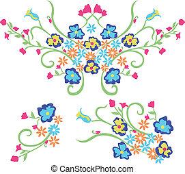 graficzny zamiar, kwiat, haft