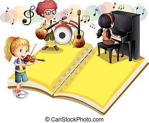 grając muzyczny instrument, dzieci