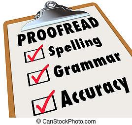 gramatyka, checklist, clipboard, ortografia, proofread, dokładność