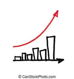 graph., strzała, succesful, czerwony