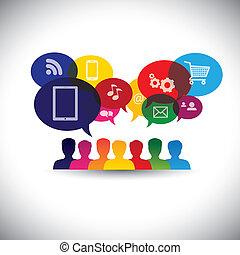 graphic., media, pogawędka, sieć, tworzenie sieci, konsumenci, ikony, media, -, komunikacja, również, online shopping, zakupy, użytkownicy, internet, graficzny, wyobrażenia, interakcja, to, &, wektor, towarzyski, albo