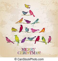 gratulacje, -, drzewo, ptaszki, zaproszenie, wektor, retro, kartka na boże narodzenie