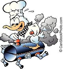 grill, ilustracja, mistrz kucharski, wektor, kaczka, jeżdżenie, baryłka, rysunek, bbq