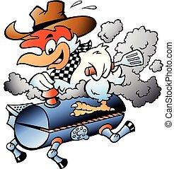 grill, ilustracja, rysunek, wektor, jeżdżenie, baryłka, kurczak, bbq