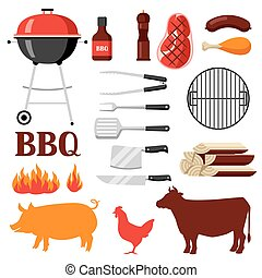 grill, komplet, bbq, obiekty, ikony