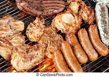 grill, mięso, rożen