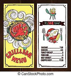 grill, rys, menu