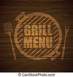 grill, wektor, projektować, szablon, menu