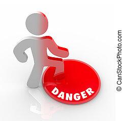 groźby, niebezpieczeństwo, ostrzeżony, guzik, ryzykuje, osoba, czerwony