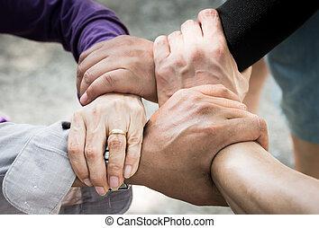 gromadzić, /teamwork, ręka, spotkanie, 4, zbiorowy