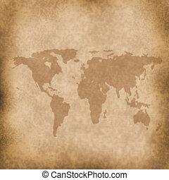 grung, mapa, papier, stary, tło