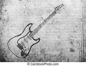 grunge, ściana, afisz, muzyka, skała, cegła